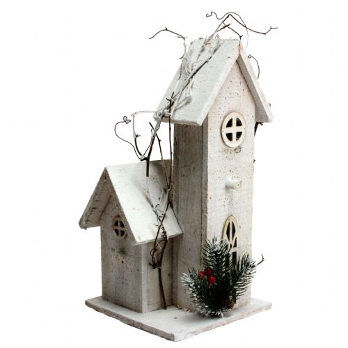 Silver Sparkle Wooden House Christmas Decoration - Rustic Wooden Model House For Christmas Decor